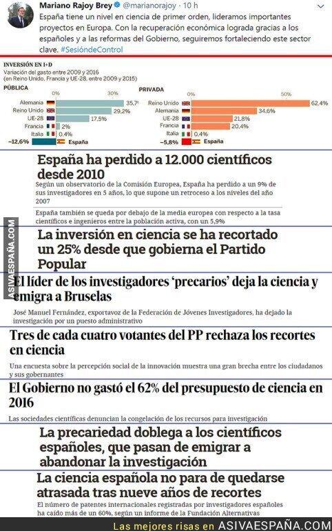 83240 - Rajoy no es el más indicado para hablar de los científicos españoles y estos datos lo corroboran