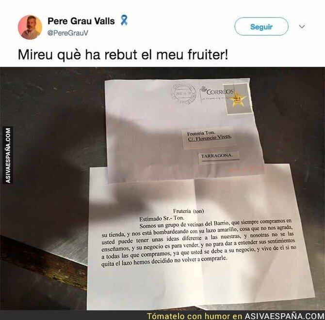 83372 - La carta que ha recibido un frutero independentista en su casa que está dando la vuelta a internet
