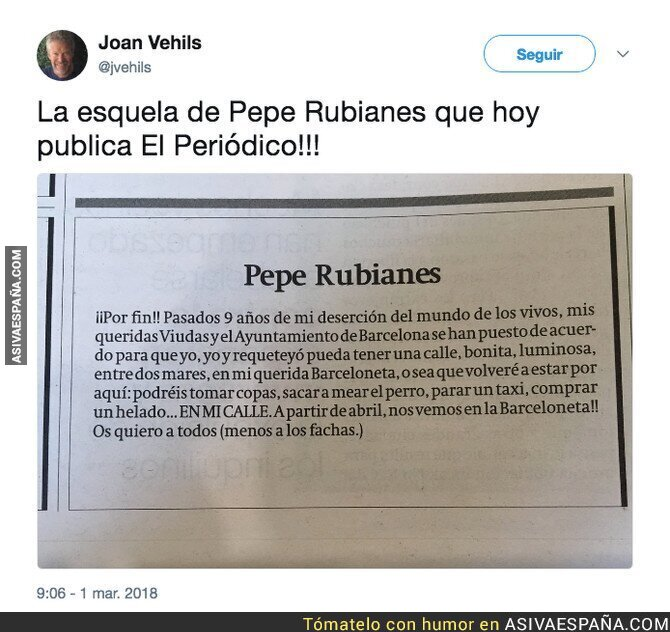 83420 - 9 años de la muerte de Pepe Rubianes y esto viene escrito hoy en El Periódico
