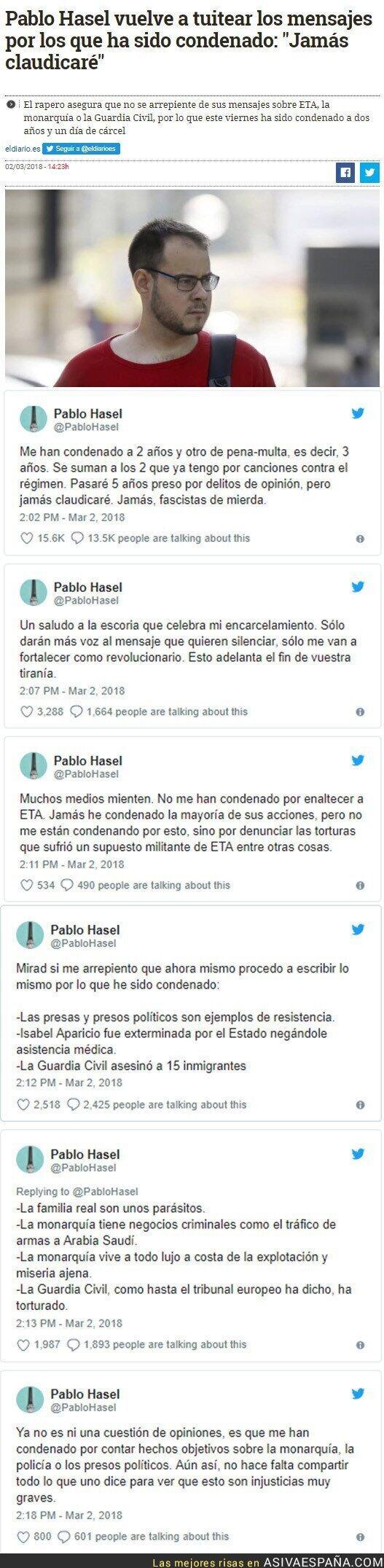 83504 - Condenan a Pablo Hasel a dos años de cárel y él vuelve a tuitear los mensajes que le llevan dentro