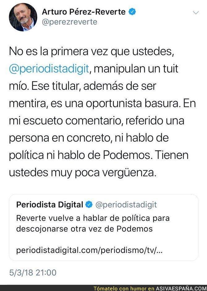 83685 - Arturo Pérez-Reverte carga contra 'Periodista Digital' por este titular