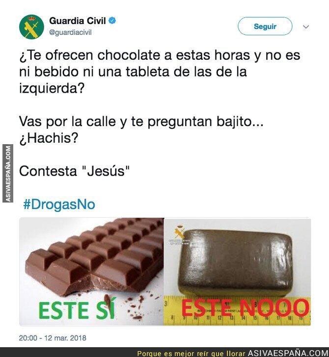 84119 - El genial consejo de la Guardia Civil sobre el consumo de chocolate