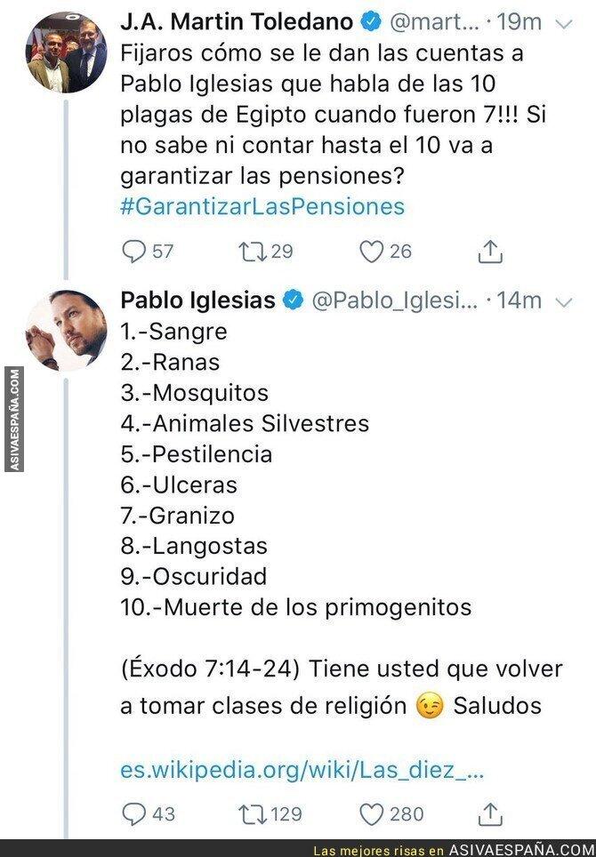 84231 - Intenta dejar de ignorante a Pablo Iglesias y le responde dejándole por los suelos