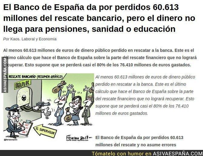 84345 - El Banco de España da por perdido del rescate bancario 45 Veces mas de lo que costaría subir las pensiones el IPC