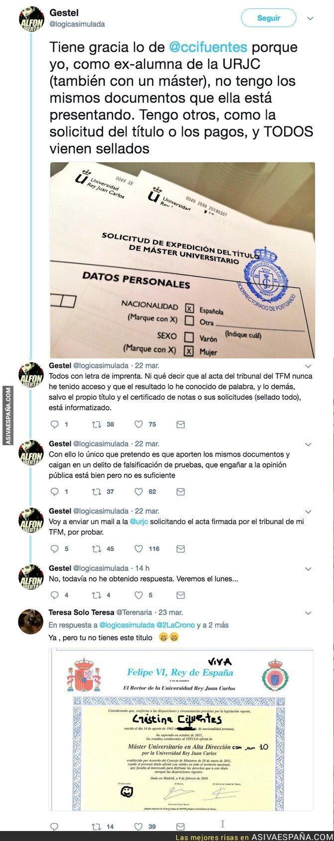 84630 - Un alumno de la Universidad Rey Juan Carlos desmonta el master de Cristina Cifuentes con este documento