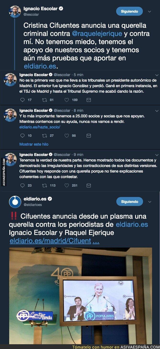 84716 - Cristina Cifuentes hace un Rajoy y anuncia una querella a eldiario.es