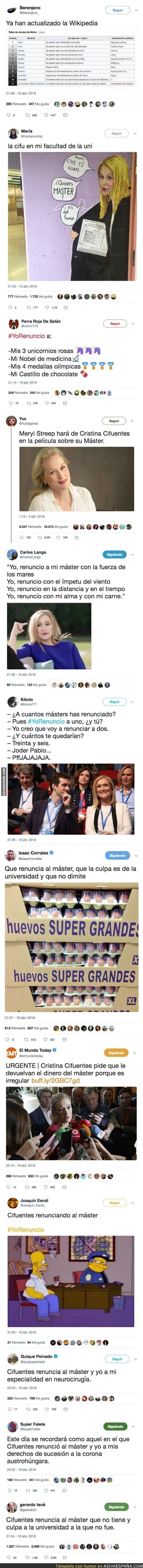 85630 - Cristina Cifuentes renuncia a su 'máster' y Twitter se llena de mofas contra ella