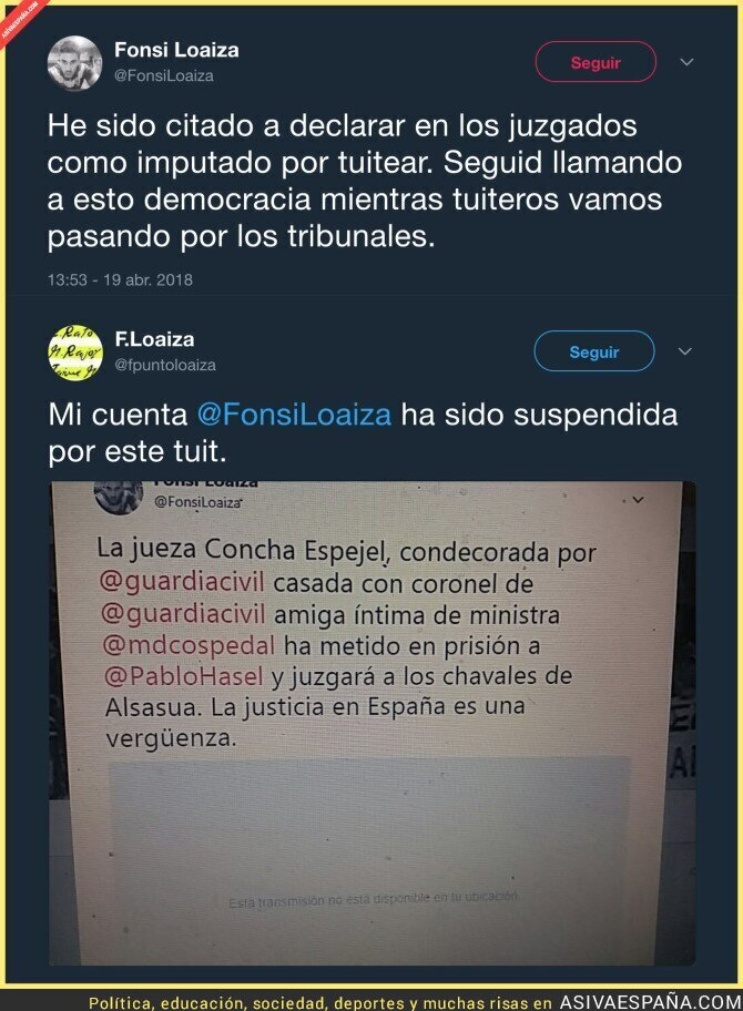 85734 - Han citado a declarar a Fonsi Loaiza por tuitear este mensaje sobre la jueza Concha Espejel