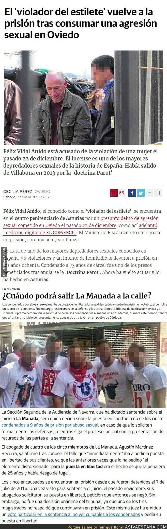 86081 - ¿Es seguro dejar a La Manada en la calle en tan poco tiempo? Dos noticias juntas se entienden mejor