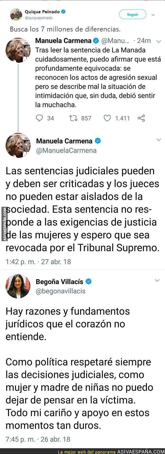 86084 - La gran diferencia de mensaje entre Manuela Carmena y Begoña Villacís tras salir la sentencia de La Manada