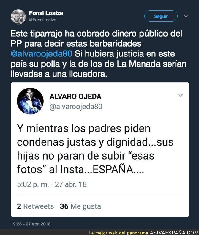 86100 - El asqueroso y repugnante mensaje de Álvaro Ojeda sobre las mujeres aprovechando el caso de La Manada