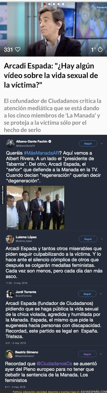 86274 - Gran polémica por lo que ha dicho Arcadi Espada el fundador de Ciudadanos sobre la víctima de La Manada
