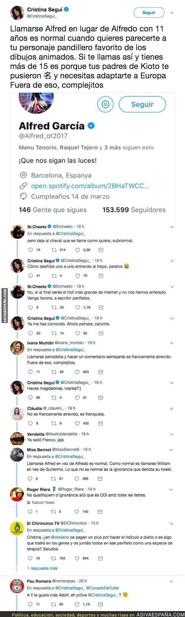 86329 - Cristina Seguí se indigna porque Alfred se hace llamar así y no Alfredo y Twitter responde humillándola