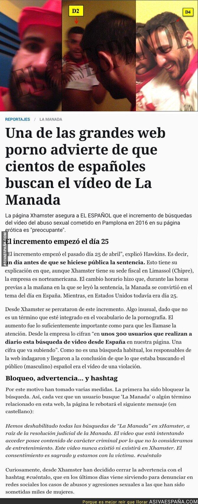 86337 - La web para adultos 'Xhamster' ha lanzado este comunicado sobre el vídeo de La Manada abusando de su víctima