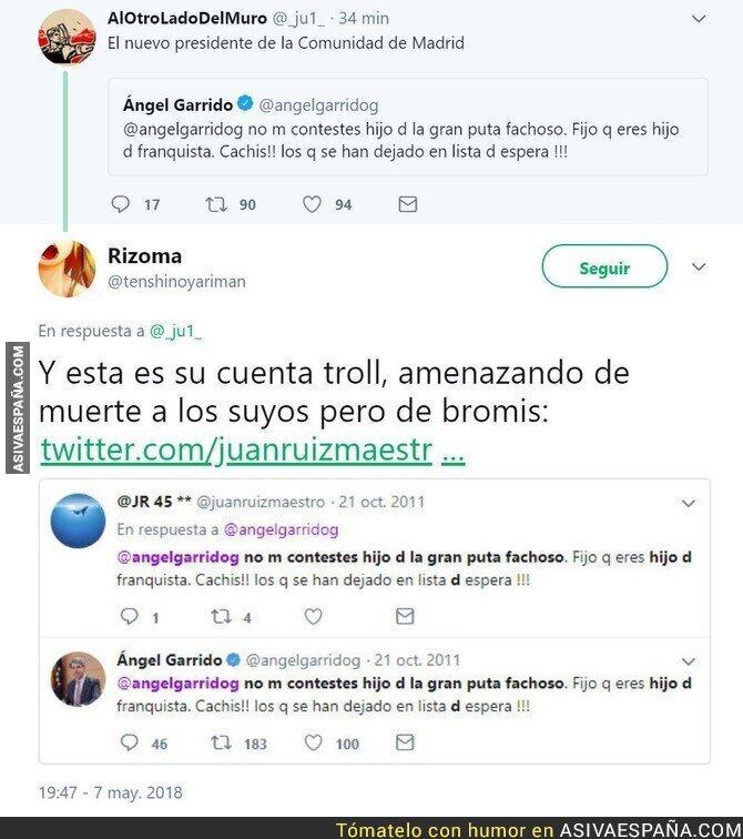 86502 - El nuevo presidente de la comunidad de Madrid y su cuenta troll desde la que se mandaba insultos para hacerse la víctima