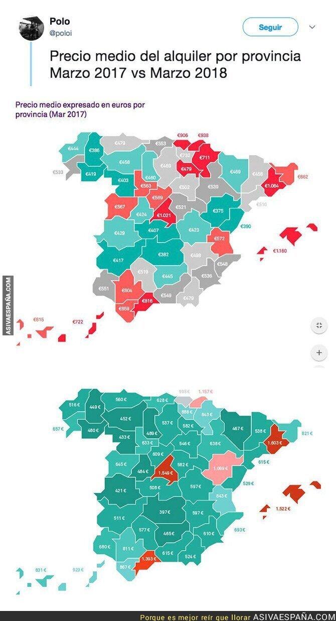 86582 - La brutal diferencia de precio en los alquieres en España de 2017 a 2018