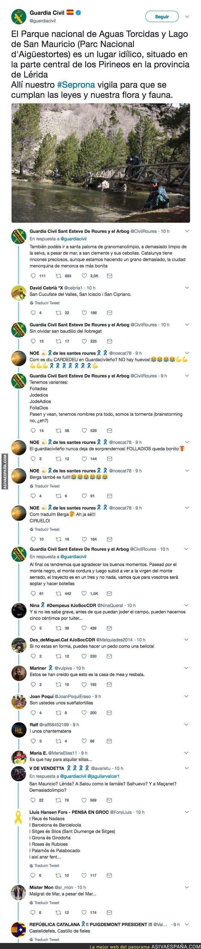 86607 - Cachondeo en Twitter porque la Guardia Civil está traduciendo nombres de pueblos de Catalunya al castellano