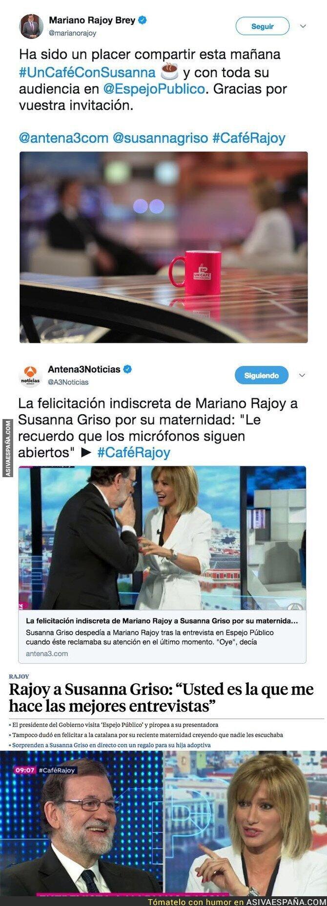 86635 - Los micros le juegan una mala pasada a Rajoy y se escucha lo que le dice en secreto a Susanna Griso en directo