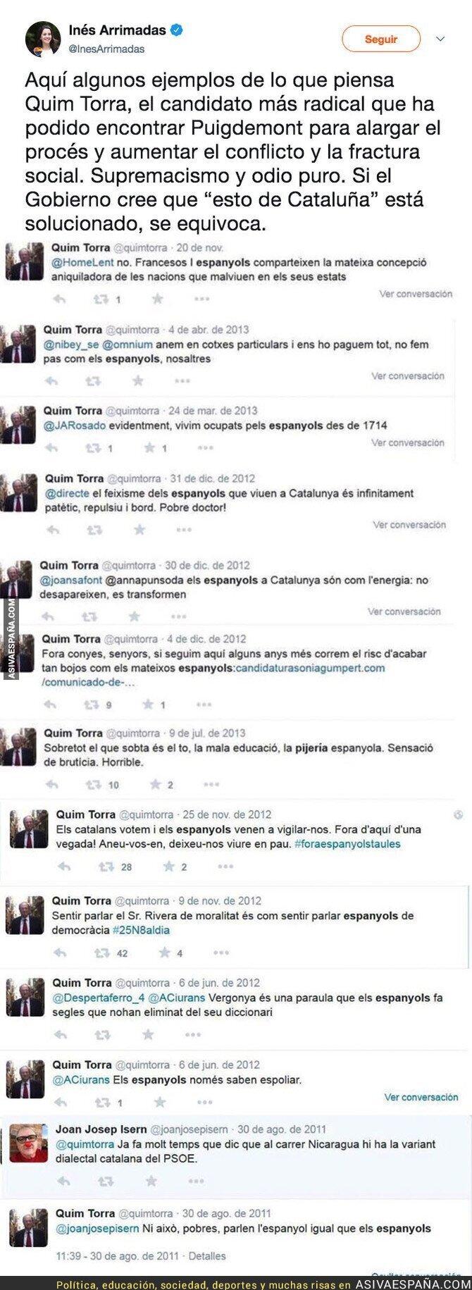 86674 - Los polémicos tuits de Quim Torra (candidato a President de Catalunya) llenos de odio que ya ha borrado