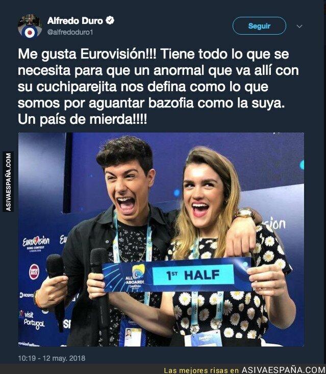 86706 - El polémico tuit de Alfredo Duro cargando contra Alfred horas antes de Eurovisión