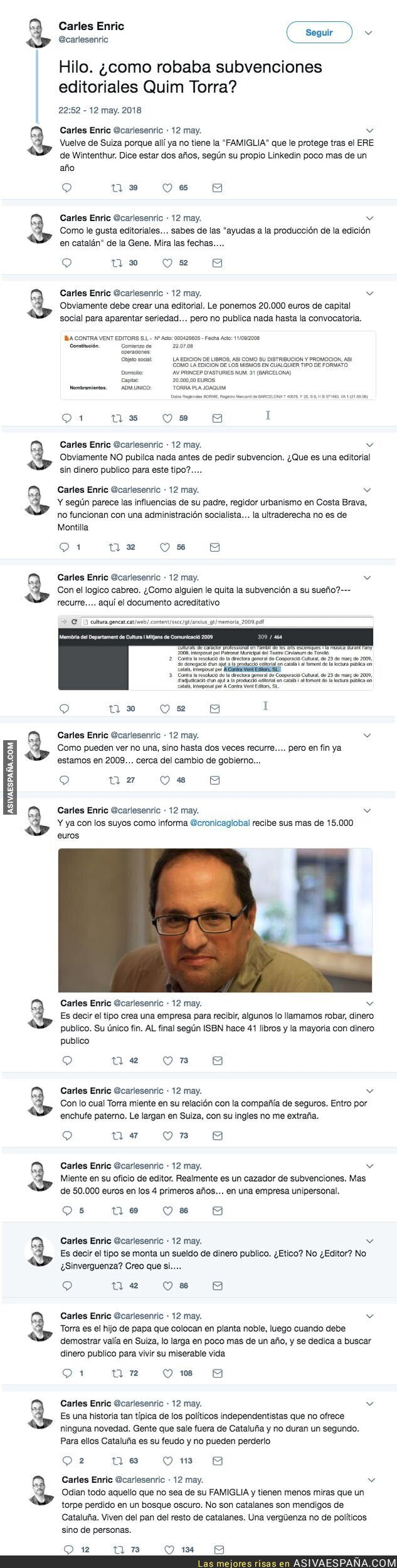 86794 - Las subvenciones editoriales que conseguía Quim Torra, el nuevo President de la Generalitat