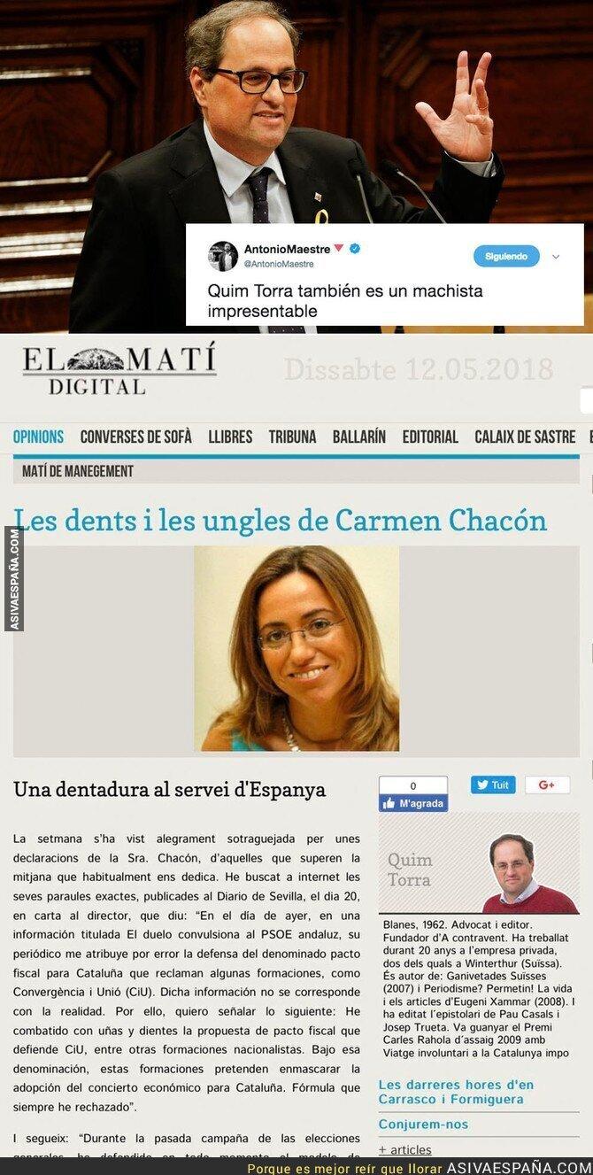 86796 - Sale a la luz un artículo de Quim Torra, el nuevo President de Catalunya donde se ve su machismo repugnante