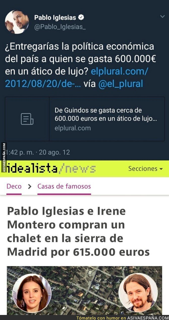 86915 - Autozasca de Pablo Iglesias tras comprarse un chalet de 600.000€