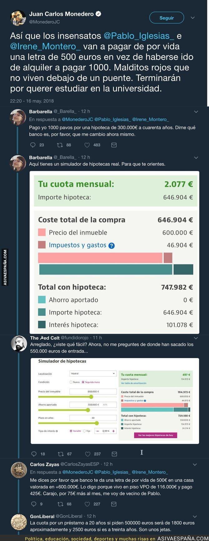 86954 - Juan Carlos Monedero se ríe en la cara de todos diciéndote que puedes optar a una casa de 600.000€
