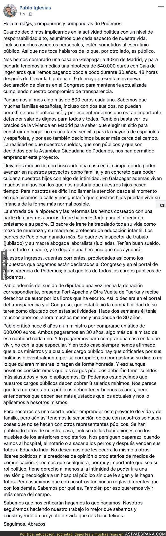 86956 - La carta de Pablo Iglesias aclarando la compra de su chalet