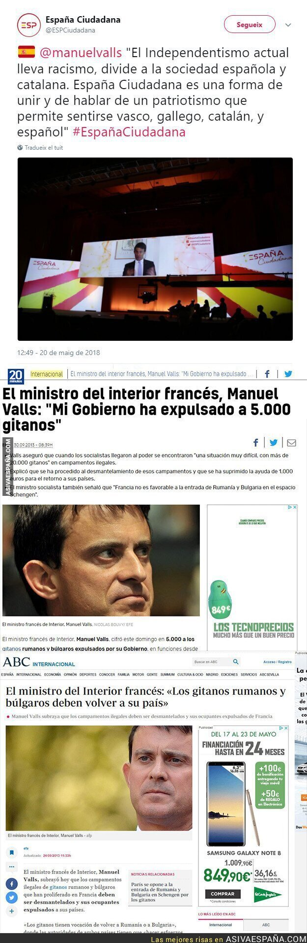 87168 - Manuel Valls (Ciudadanos) dice que el nacionalismo catalán lleva racismo y esto hacía él en Francia