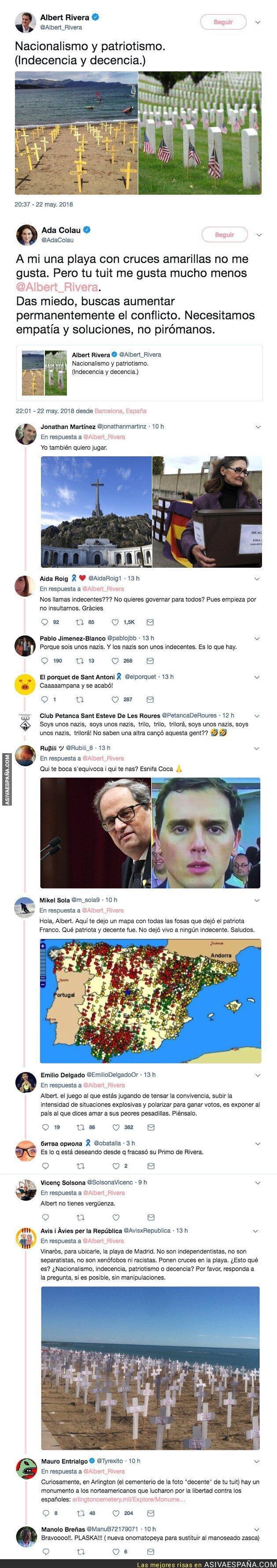 87262 - Albert Rivera incendia Twitter comparando estas dos imágenes de Catalunya y Estados Unidos