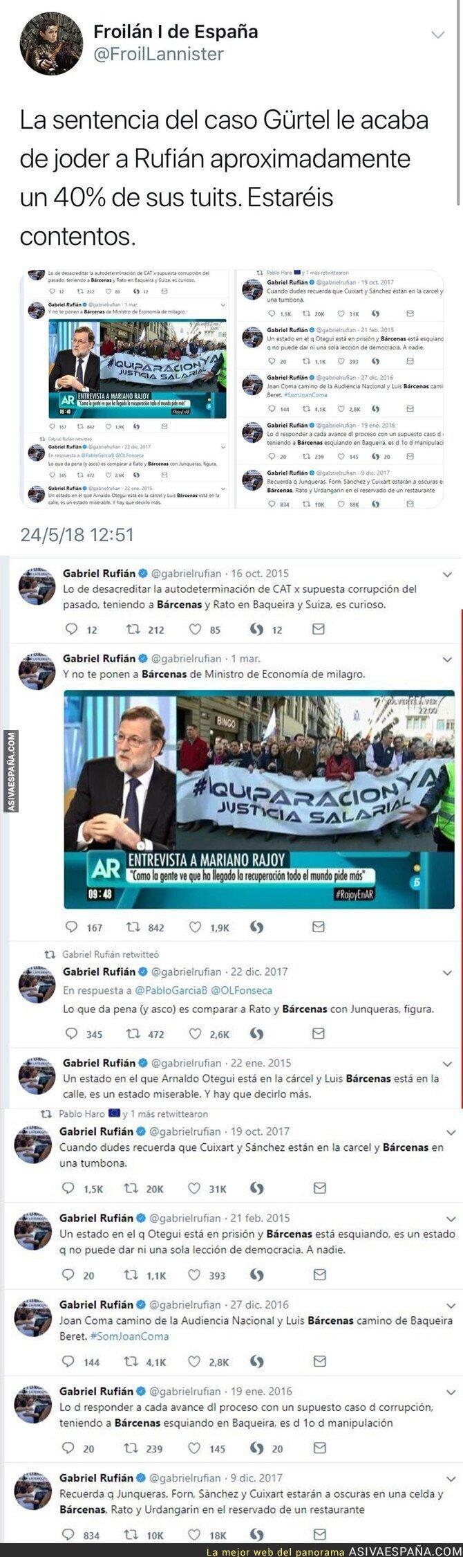 87380 - El gran damnificado por la entrada en prisión de Bárcenas es Gabriel Rufián en Twitter