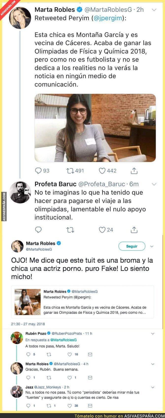 87482 - La periodista Marta Robles se traga este bulo sobre la actriz porno Mia Khalifa y todos se están riendo de ella