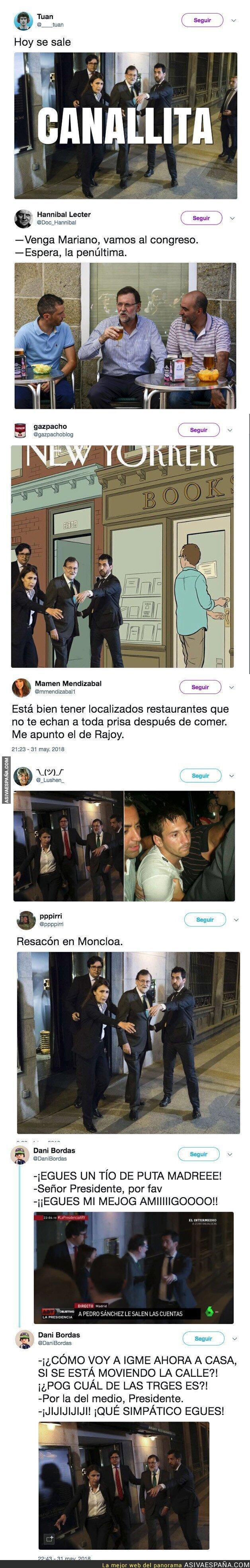 87699 - Mariano Rajoy salió todo borracho del bar donde se escondió durante el debate de la moción de censura y se lió en Twitter tras verlo