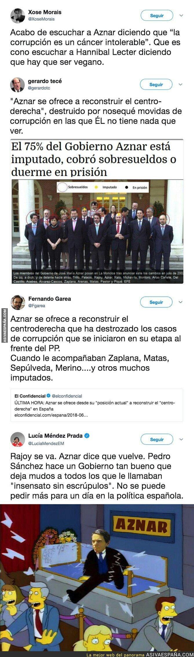 87979 - Aznar se ofrece a regenerar el centro-derecha de la política española y todos se están riendo de él