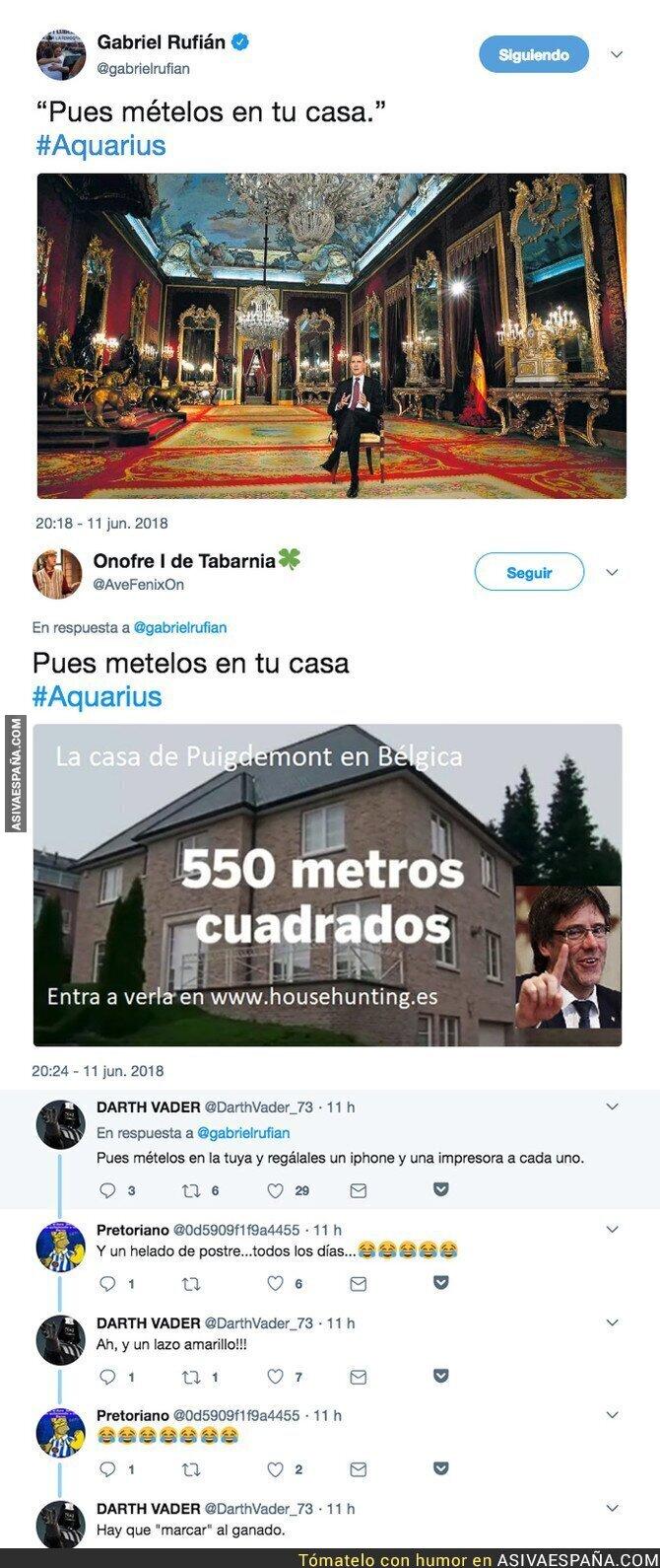 88264 - Gabriel Rufián la lía parda con este tuit contra el Rey relacionándolo con los refugiados del Aquarius