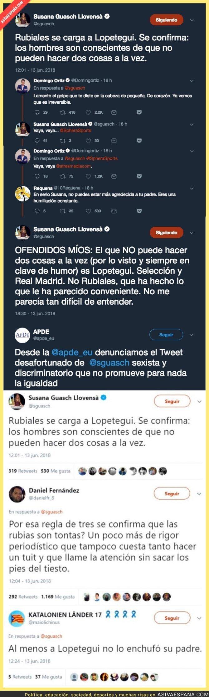 88358 - La periodista Susanna Guasch la lía parda con este tuit repugnante que todo el mundo ha condenado