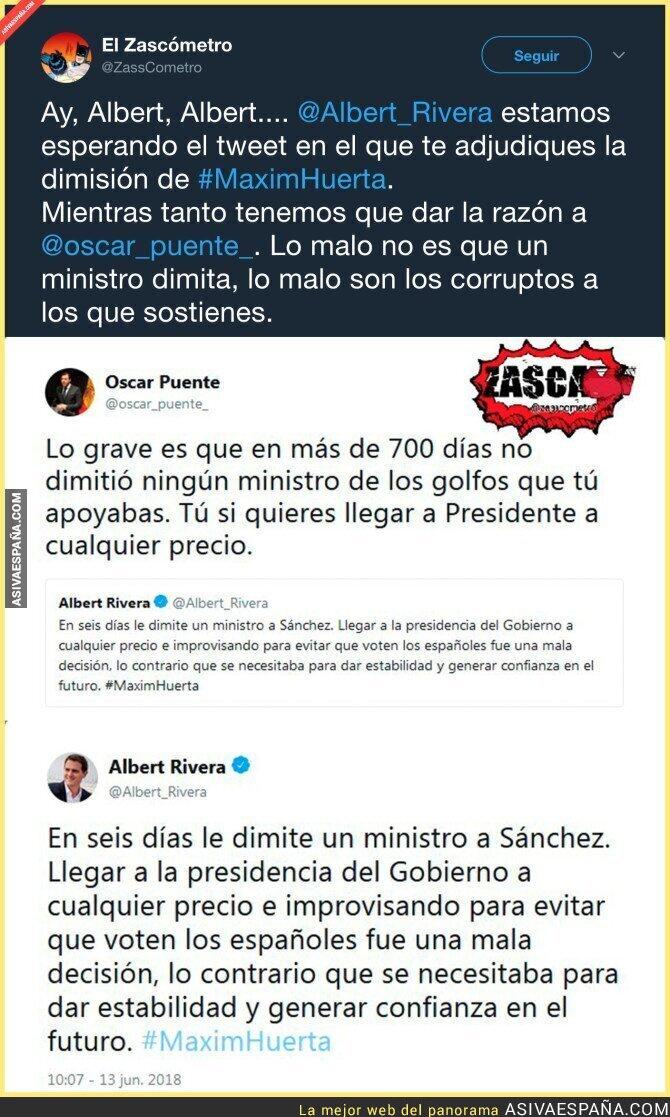 88394 - Oscar Puente le da una descomunal respuesta a Albert Rivera tras un lamentable mensaje contra Pedro Sánchez