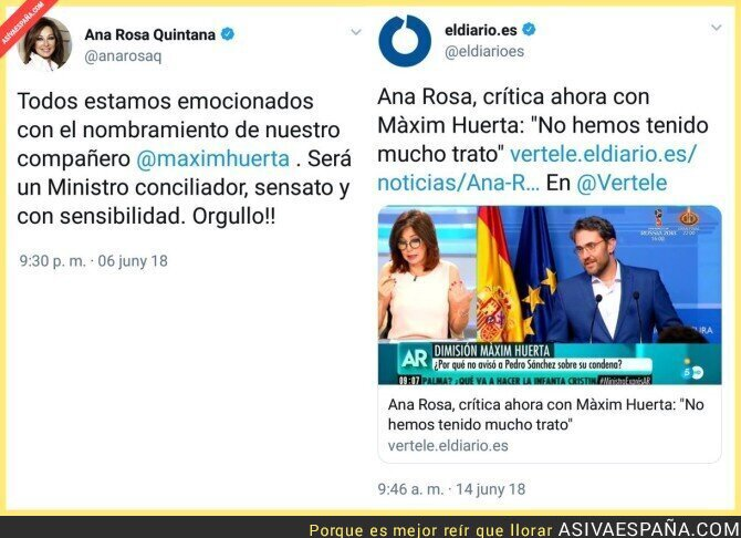88498 - Ana Rosa Quintana ya no es tan amiga de Màxim Huerta tras fracasar como ministro