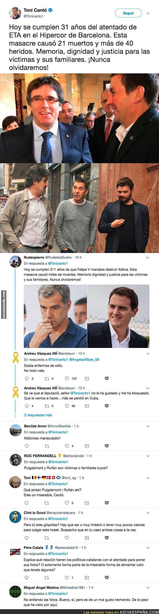 88591 - Toni Cantó crea gran polémica adjuntando estas fotos en su mensaje del 31 aniversario del atentado en el Hipercor
