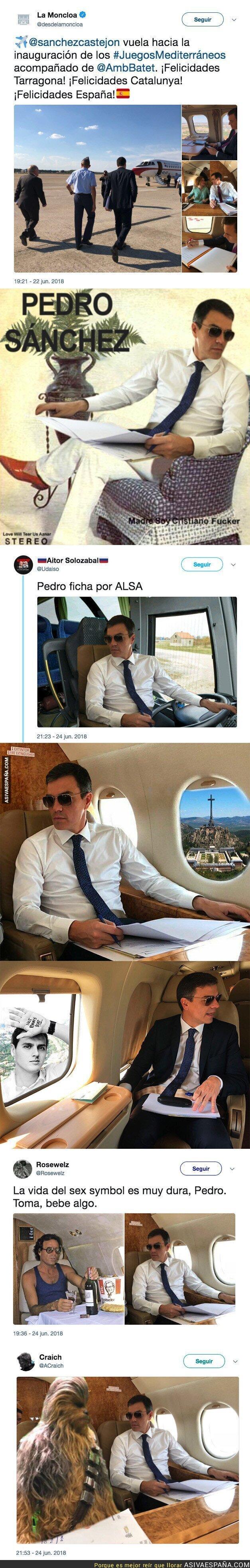 88856 - Pedro Sánchez se pone unas gafas de sol durante un vuelo e internet se llena de memes con él