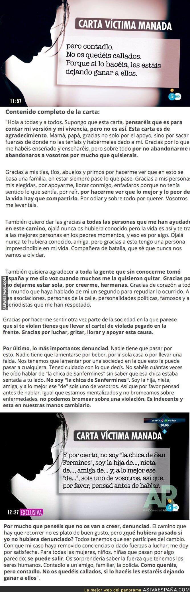 88900 - La carta de la víctima de La Manada que ha roto su silencio tras la puesta en libertad de sus agresores