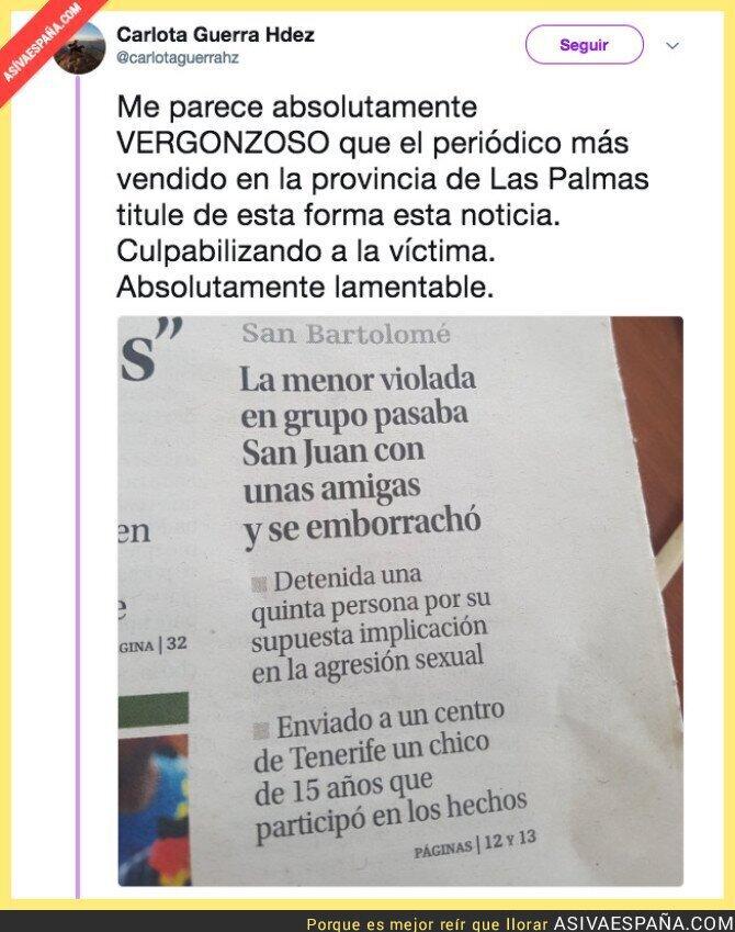 88980 - El titular repugnante de este diario culpabilizando a la víctima