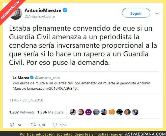 89025 - 240 euros de multa a un guardia civil por amenazar de muerte al periodista Antonio Maestre