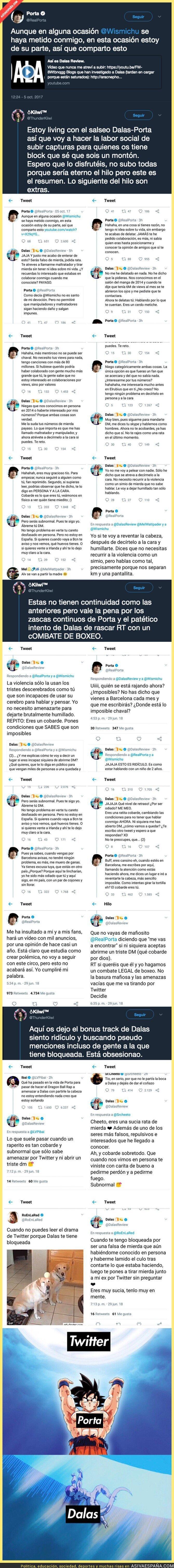 89042 - El rapero Porta se enzarza en la pelea más épica que ha vivido Twitter contra el youtuber Dalas