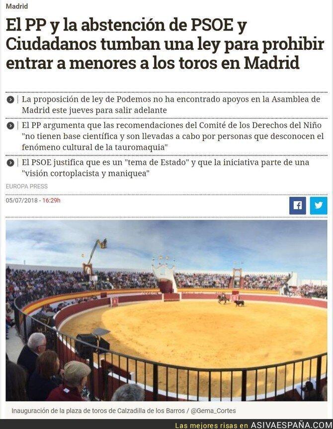 89237 - PP, PSOE y Cs, a favor de que los niños puedan ver torturas sangrientas que sufren animales