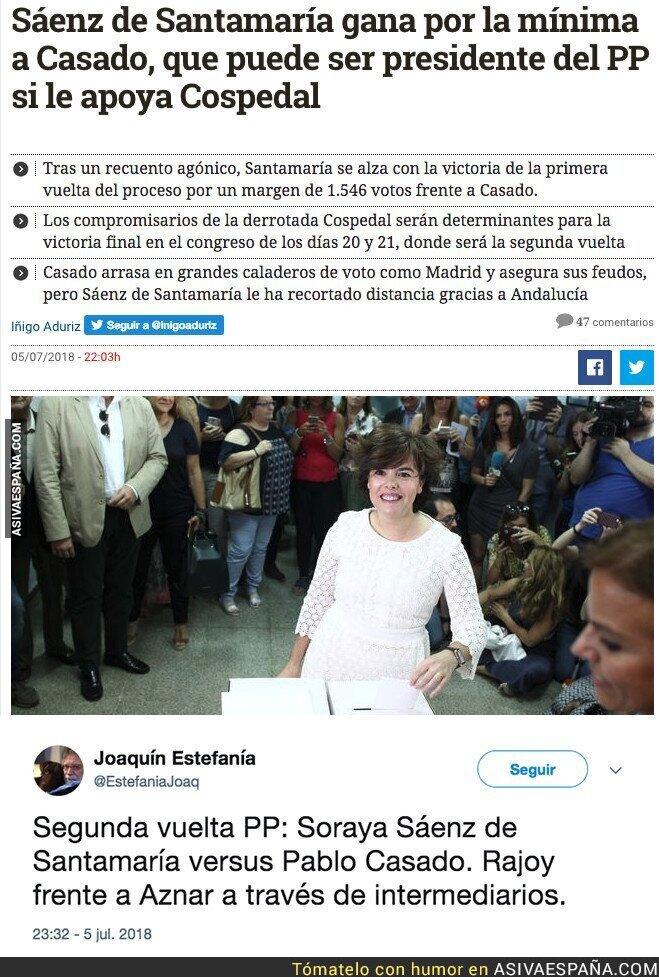 89239 - Soraya Sáenz de Santamaría gana la primera vuelta de las primarias