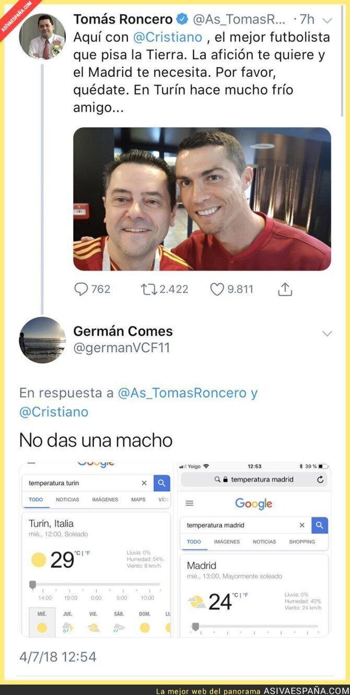 89261 - Tomás Roncero lo ha vuelto a hacer: intenta convencer a Cristiano para que se quede en el Madrid por la temperatura y lo que pasó a continuación no te sorprenderá