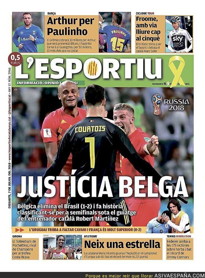89322 - La gran portada de L'Esportiu tras la victoria de Bélgica en el Mundial