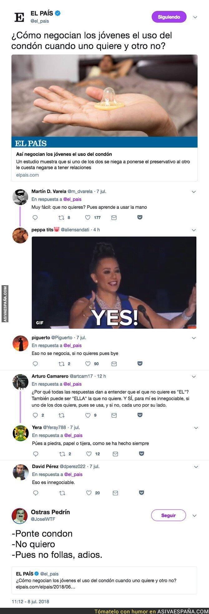 89374 - 'El País' se pregunta como se negocia el uso del preservativo y la respuesta es mayoritaria